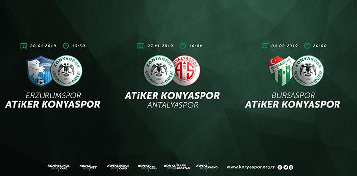 Atiker Konyaspor'umuzun B.B.Erzurumspor maçı 20 Ocak'ta oynanacak
